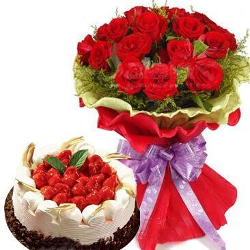 鲜花蛋糕组合花礼