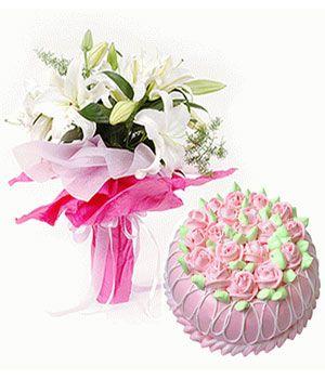 鲜花蛋糕甜蜜