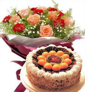 蛋糕鲜花问候