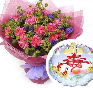 鲜花蛋糕祝寿