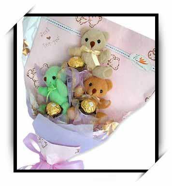 可爱熊花束3