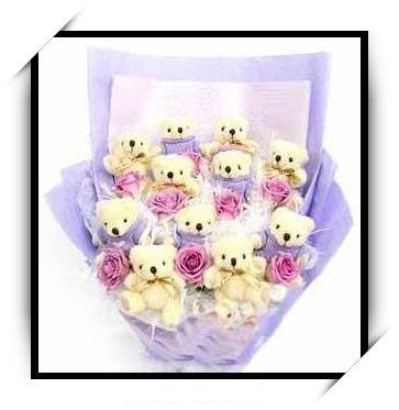可爱熊花束8